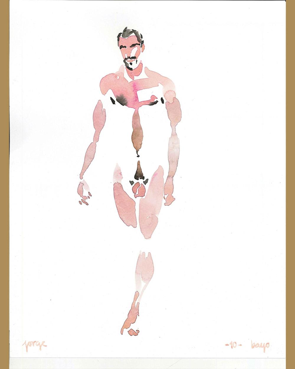 Acuarela hombre desnudo