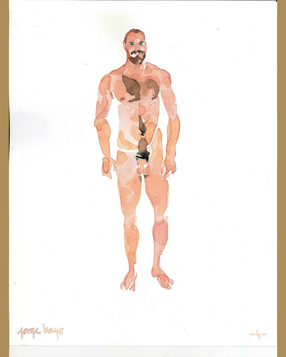 Acuarela hombre desnudo - Jorge Bayo - Gay Art Madrid