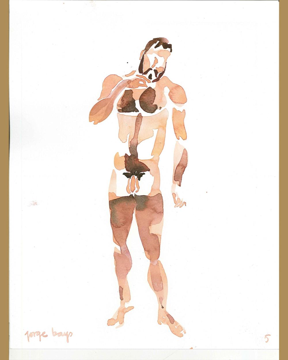 Acuarela hombre desnudo – Jorge Bayo – Gay Art Madrid